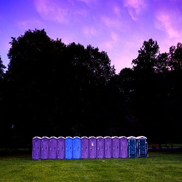 portable toilets in the fields