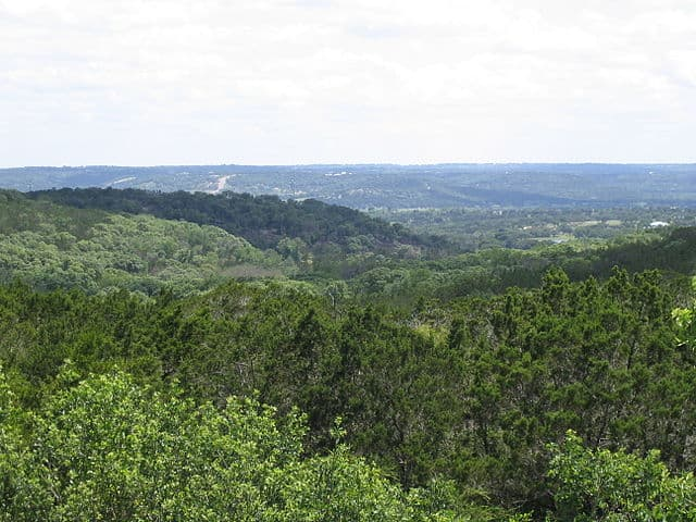 Texas Hill Country - https://upload.wikimedia.org/wikipedia/commons/thumb/d/dd/Texas_Hill_Country_Near_I-10%2C_2004.jpg/640px-Texas_Hill_Country_Near_I-10%2C_2004.jpg
