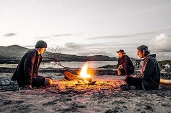 camp fire on beach
