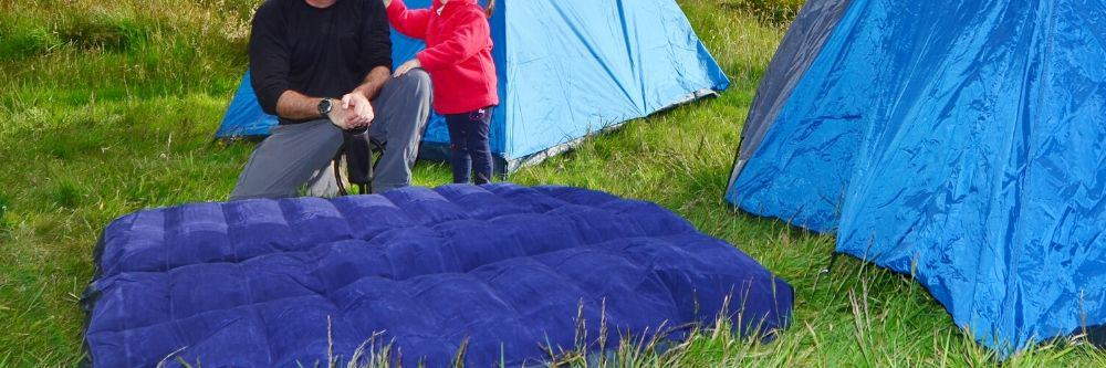 camping-mattress-outside-tents