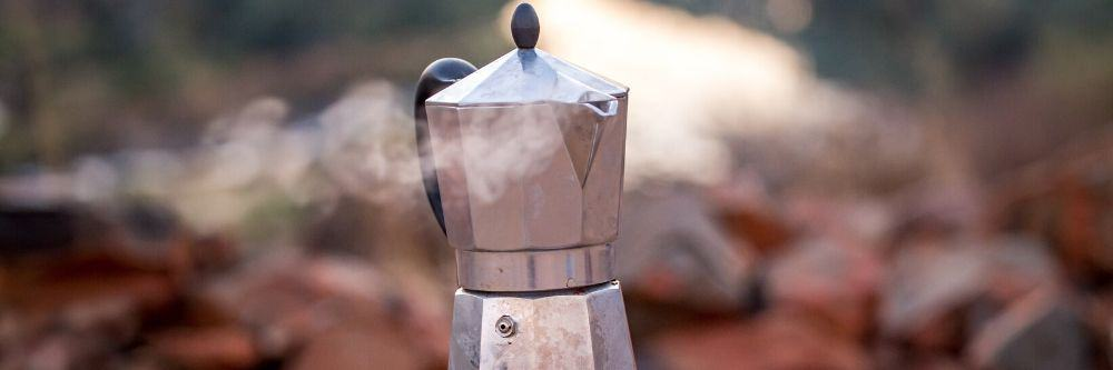 brewing coffee outdoors camping