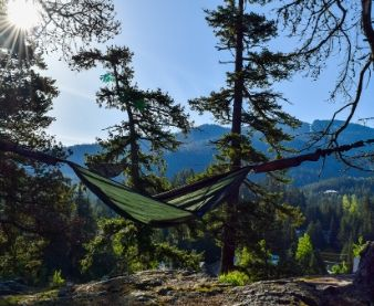 camping hammock on mountain