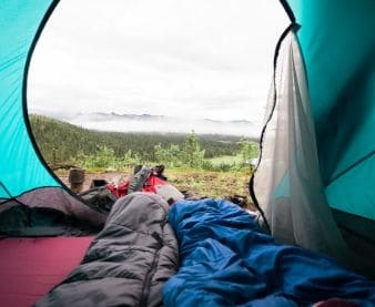 sleeping bags inside a tent