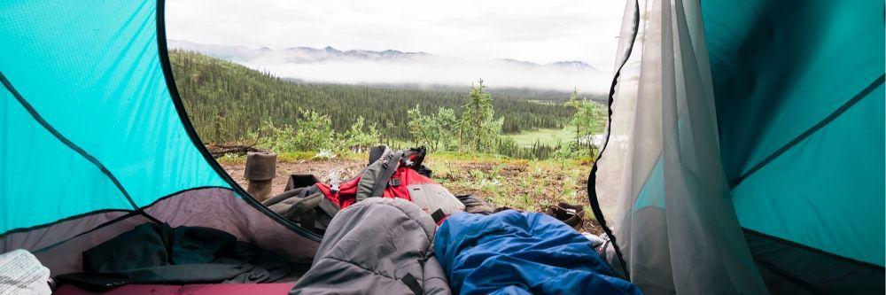 sleeping bags inside a tent