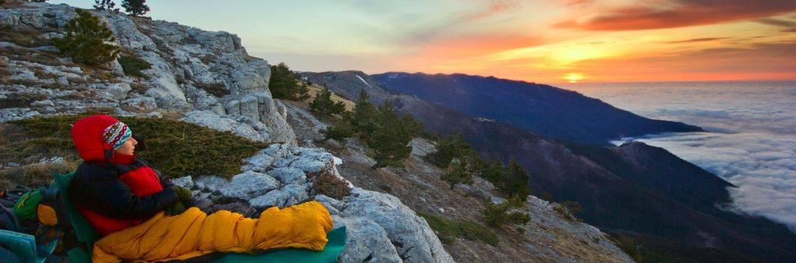 sleeping-bag-overlooking-great-mountain-view